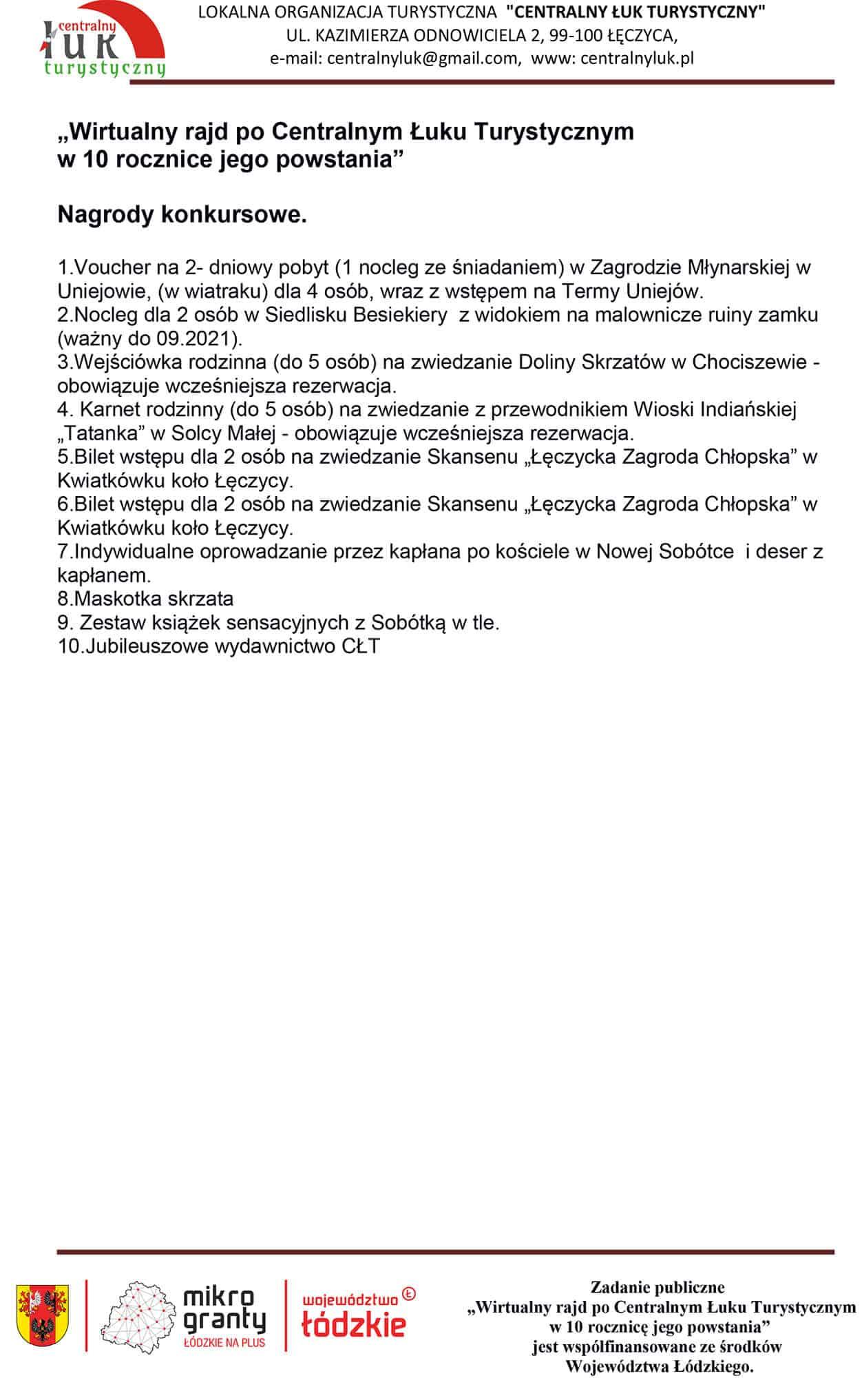 Nagrody konkursowe_Wirtualny Rajd po Centralnym Łuku Turystycznym 2020
