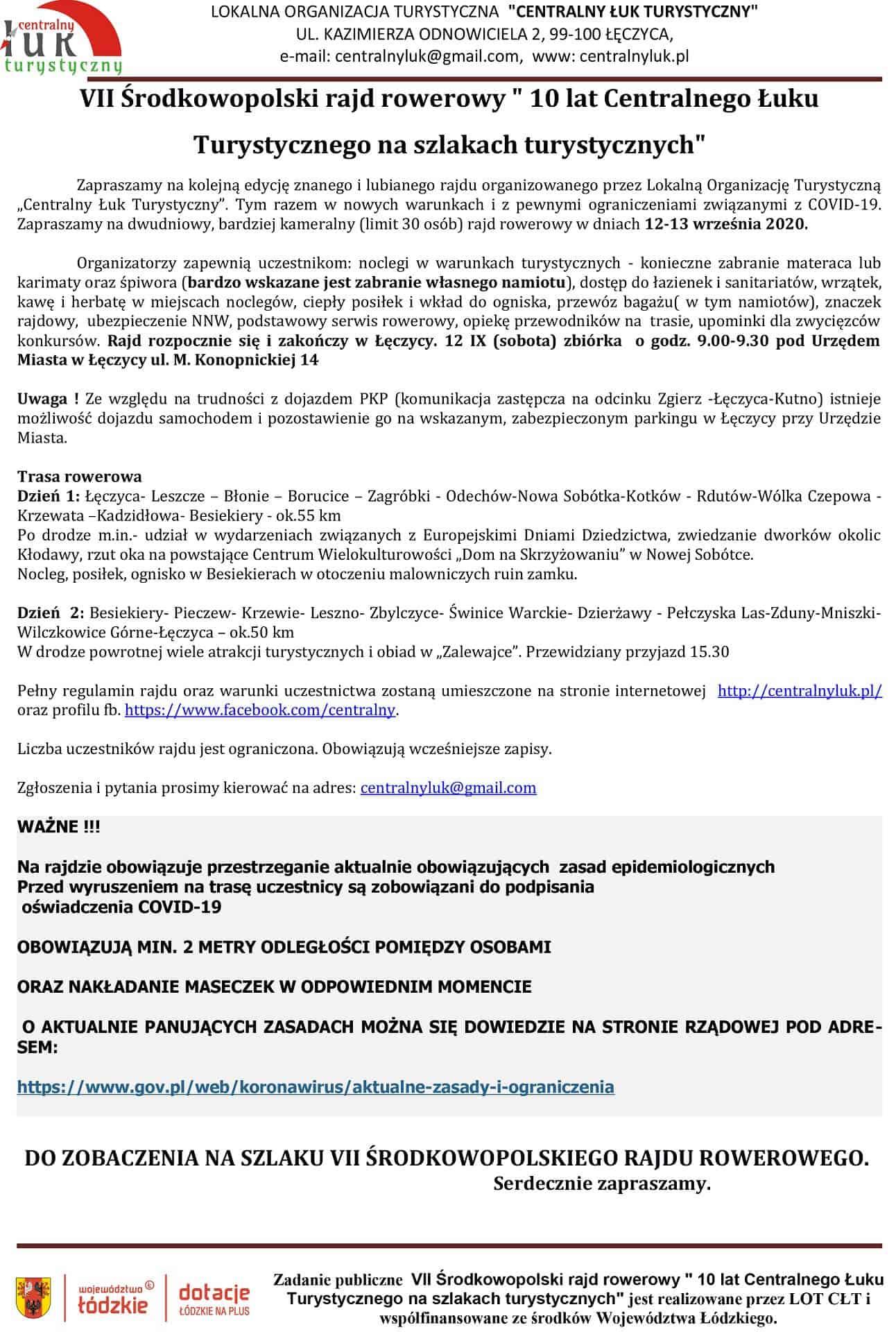 Rajd Rowerowy CŁT 2020 zaproszenie