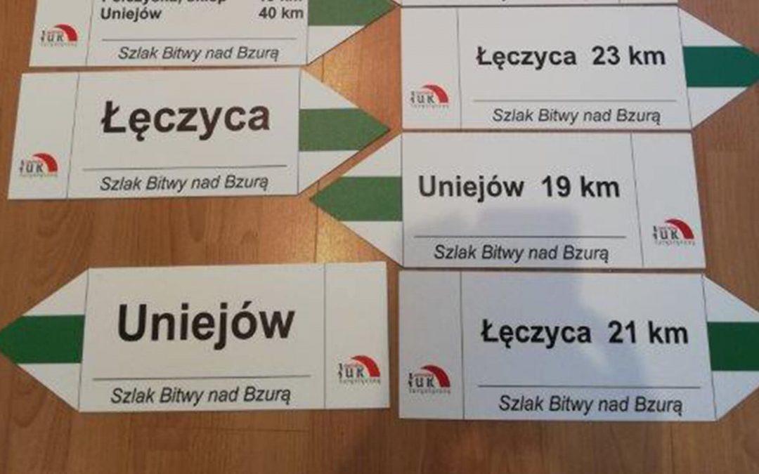 """Szlak pieszy """"Bitwy nad Bzurą"""" – Łęczyca-Uniejów"""