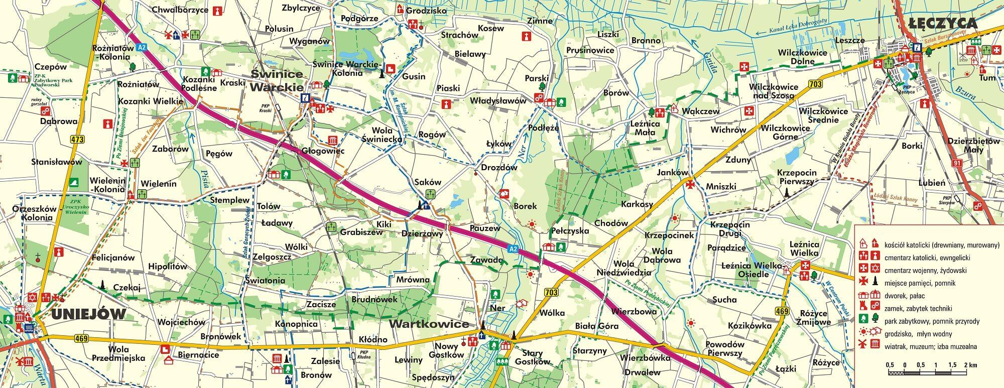 mapa szlaku Bitwy nad Bzurą Łęczyca-Uniejów
