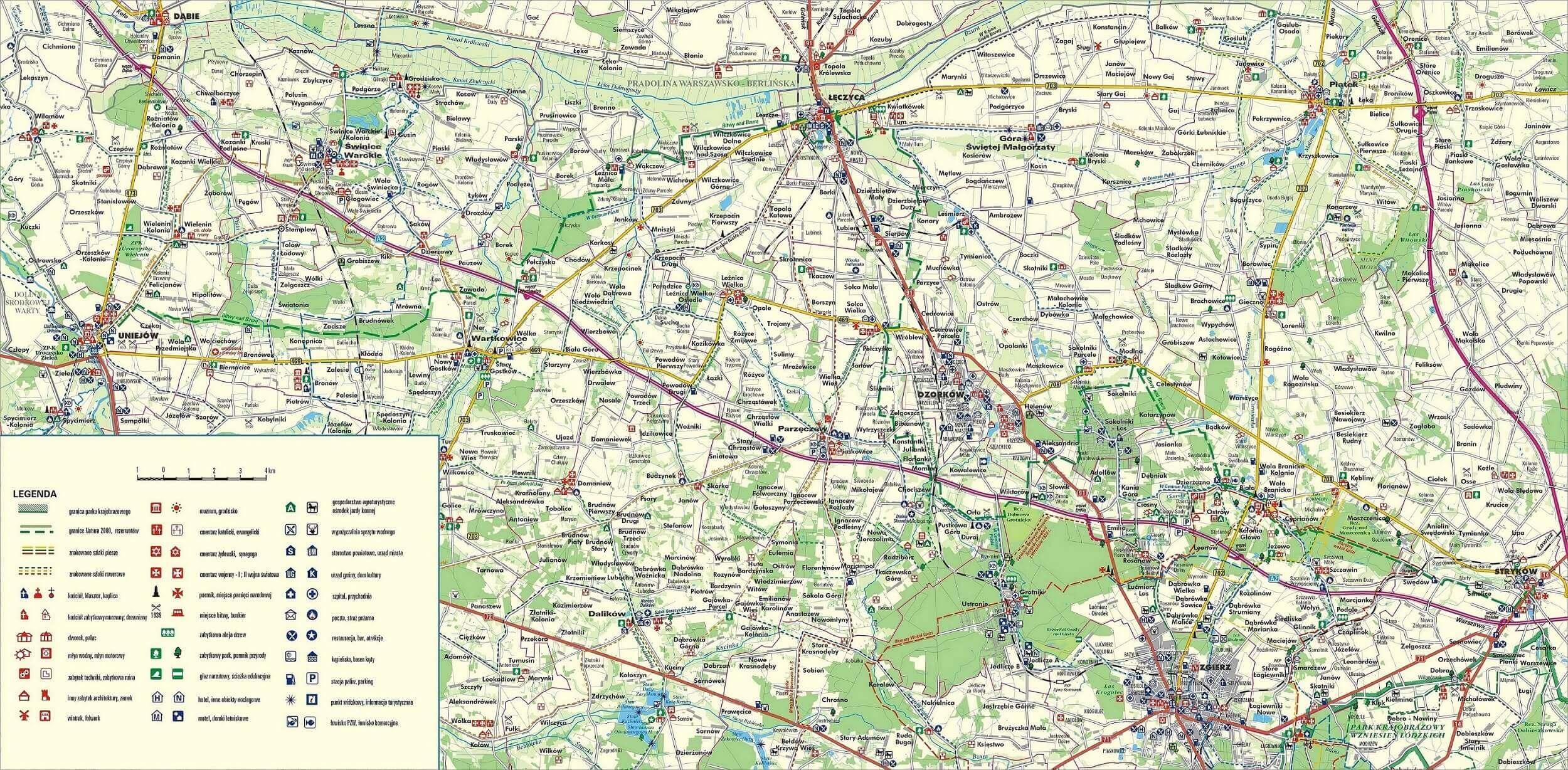 Mapa szlaku Bitwy nad Bzurą Łęczyca Uniejów Stryków